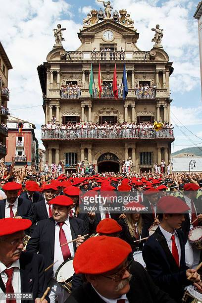 A band plays music during the opening and the firing of the 'Chupinazo' rocket which starts the 2014 Festival of the San Fermin Running of the Bulls...