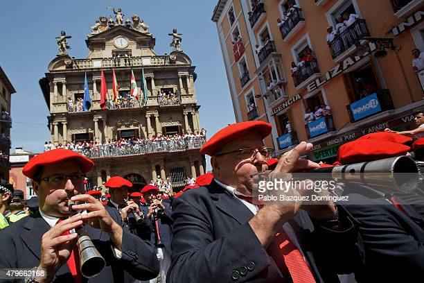 A band plays music during the opening day or 'Chupinazo' of the San Fermin Running of the Bulls fiesta on July 6 2015 in Pamplona Spain The annual...