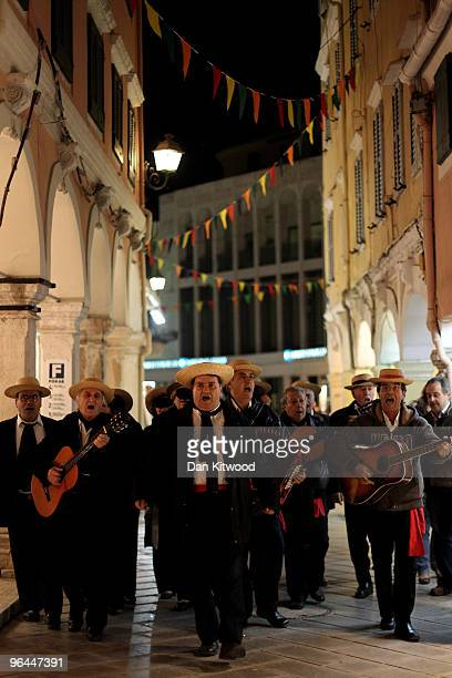 A band plays traditional music ahead of Carnival day in Corfu Town on February 4 2010 in Corfu Greece