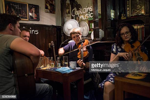 A band plays traditional Scottish music at Captains in downtown Edinburgh on June 14th 2014 Views and snapshots from Scotland a country that will be...