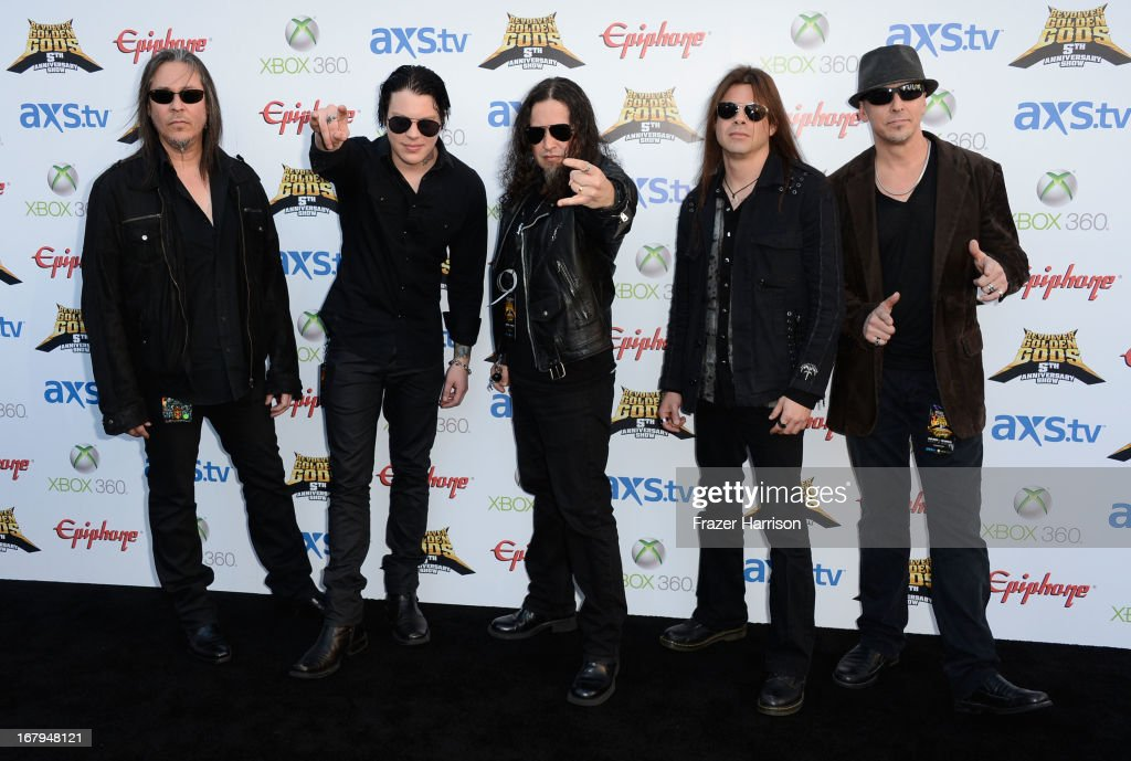 Band <a gi-track='captionPersonalityLinkClicked' href=/galleries/search?phrase=Queensryche&family=editorial&specificpeople=594896 ng-click='$event.stopPropagation()'>Queensryche</a> arrives at the 5th Annual Revolver Golden Gods Award Show at Club Nokia on May 2, 2013 in Los Angeles, California.