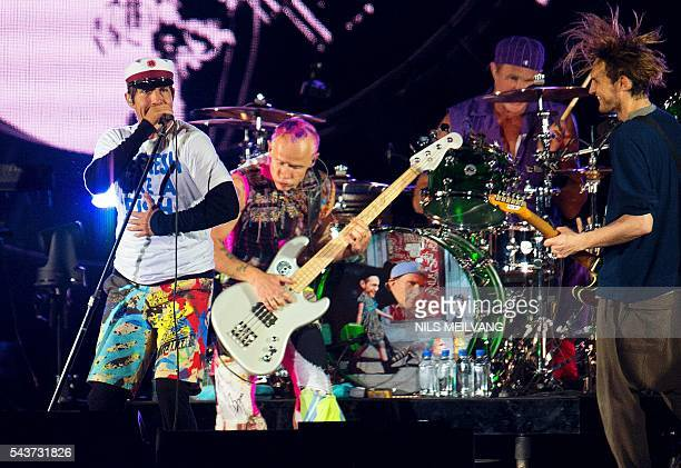 US Band Red Hot Chili Peppers perform at the orange stage at Roskilde festival in Roskilde on June 29 2016 / AFP / SCANPIX DENMARK / Nils Meilvang /...