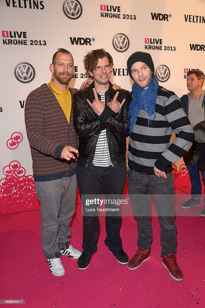 Band Sportfreunde Stiller attends the '1Live Krone' at Jahrhunderthalle on December 5, 2013 in Bochum, Germany.