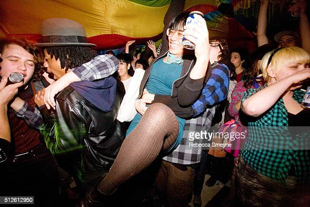 Band the Mae Shi performs in the crowd with a colorful parachute at the music venue Death By Audio on December 14 in Brooklyn NY