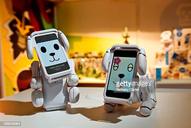 Bandai makers of the Tamagotchi pet show display their new Tec Pet iphone dog at the Toy Retailers Association's annual 'Dream Toys' fair on October...