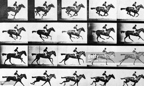 Bande d'images prises en vitesse rapide sur des chevaux lors d'une course hippique à Londres RoyaumeUni prises en 1887