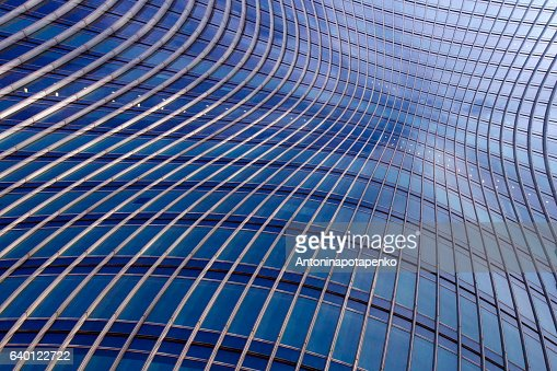 Banded curved abstract building background : Stock Photo