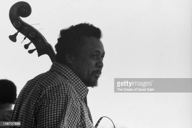 Bandleader bassist and composer Charles Mingus backstage at the Newport Jazz Festival in July 1971 in Newport Rhode Island