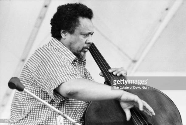 Bandleader bassist and composer Charles Mingus performs at the Newport Jazz Festival in July 1971 in Newport Rhode Island