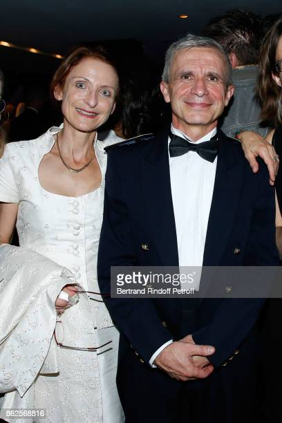 Bandmaster Francois Boulanger and his wife attend the 25th 'Gala de l'Espoir' at Theatre des ChampsElysees on October 17 2017 in Paris France