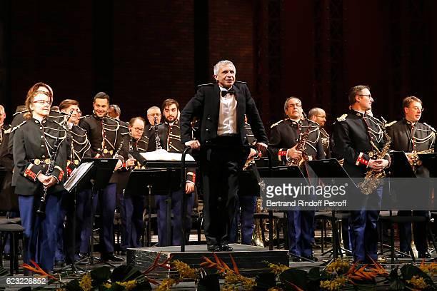 Bandmaster Francois Boulanger and the 'Orchestre de la Garde Republicaine' perform during the 24th 'Gala de l'Espoir' at Theatre du Chatelet on...