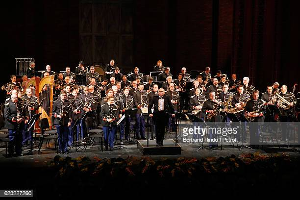 Bandmaster Francois Boulanger and the 'Orchestre de la Garde Republicaine' perform during the 24th 'Gala de l'Espoir' at Theatre du Chatelet on...