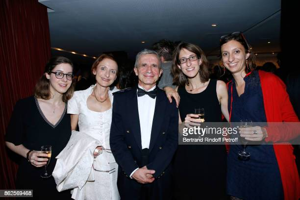 Bandmaster Francois Boulanger with his wife and their nieces attend the 25th 'Gala de l'Espoir' at Theatre des ChampsElysees on October 17 2017 in...