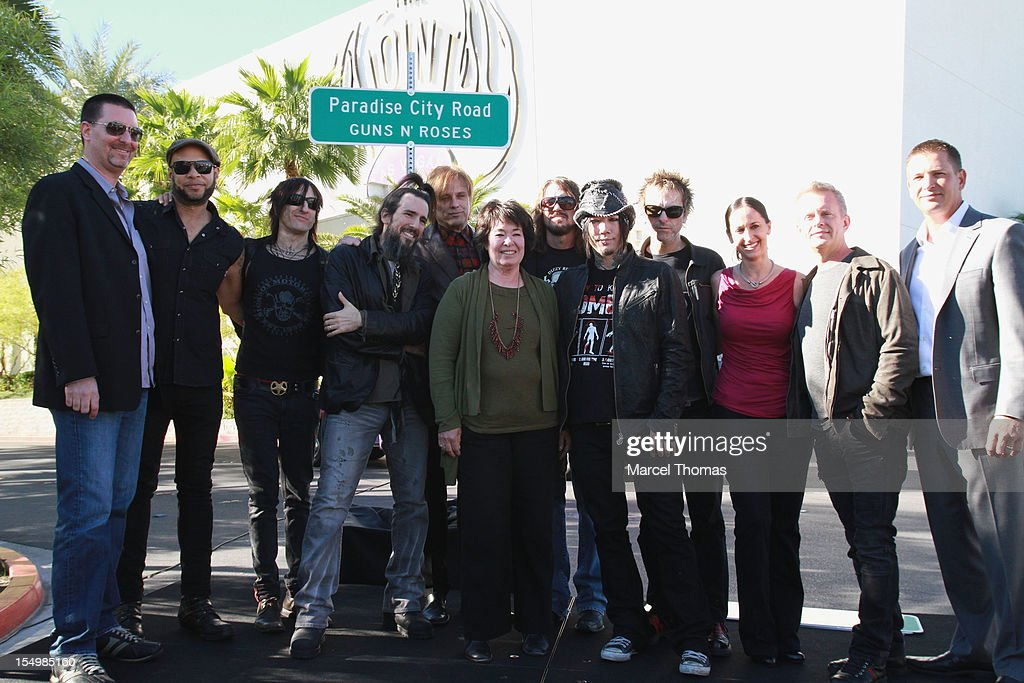 Bandmembers of Guns N' Roses join Clark County Commissioner Mary Beth Scow, AEG Live Suzanne Richardson, Hard Rock Hotel COO Jody Lake and Director of Entertainent Paul Davis to rename Paradise Road as 'Paradise City Road' in honour of Guns N' Roses residency at Hard Rock Hotel and Casino on October 29, 2012 in Las Vegas, Nevada.