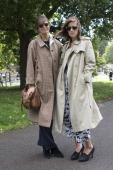Bandmembers of The Night Six Sophie Rose wears A Burberry jacket Mulberry bag vintage Giorgio Armani sunglasses and Repetto shoes with Anna...