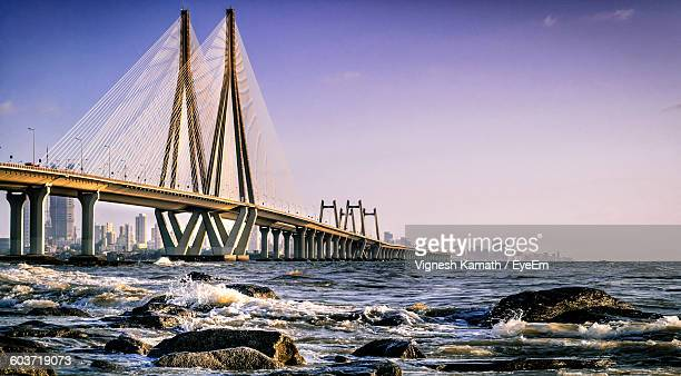 Bandra-Worli Sea Link Over Sea Against Clear Sky