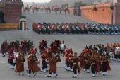 Bands of Army Air Force and Navy performing during Beating Retreat Ceremony at Vijay Chowk on January 29 2012 in New Delhi India Hundreds of people...