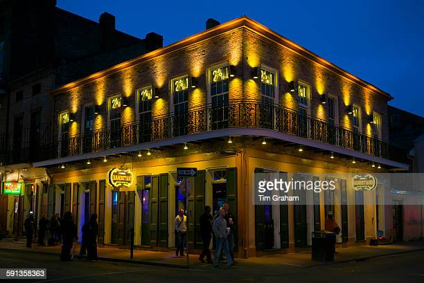 Bandstand live blues club in famous Bourbon Street in French Quarter of New Orleans USA