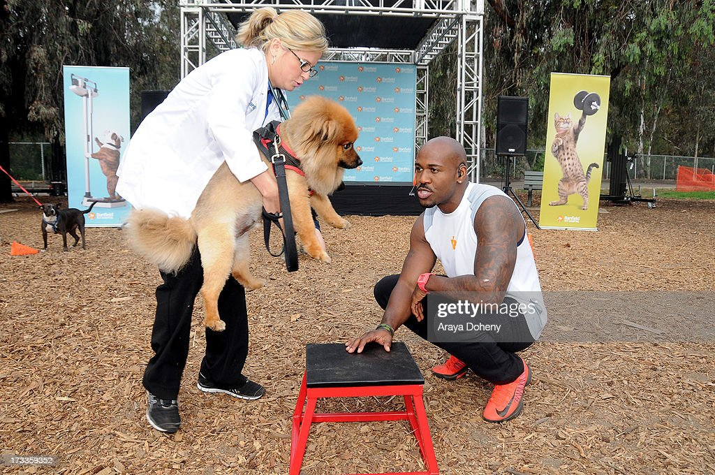 Banfield Pet Hospital and Dolvett Quince of 'The Biggest Loser' lead a pet fitness class at Barrington Park on July 12, 2013 in Brentwood, California.