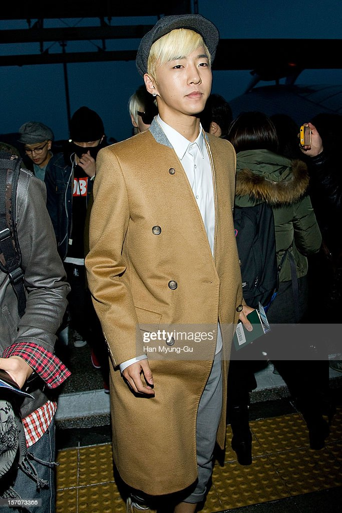 Bang Yong Guk of South Korean boy band B.A.P is seen at Incheon International Airport on November 28, 2012 in Incheon, South Korea.