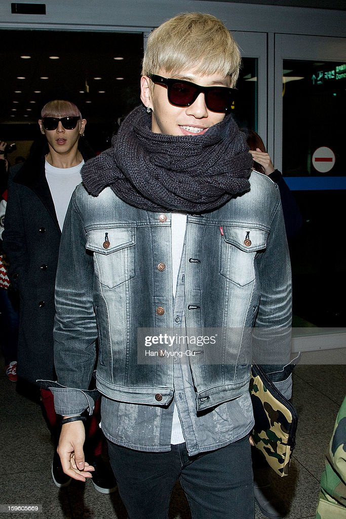 Bang Yong-Guk of South Korean boy band B.A.P is seen at Incheon Inaternational Airport on January 16, 2013 in Incheon, South Korea.