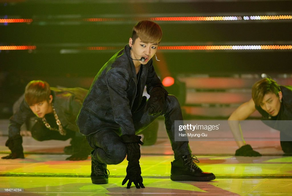 Bang Yong-Guk of South Korean boy band B.A.P performs onstage during the MBC Music 'Show Champion' at Uniqlo-AX Hall on March 20, 2013 in Seoul, South Korea.