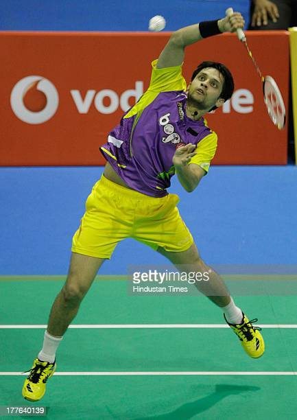 Banga Beats' player Parupalli Kashyap in action against Delhi Smashers' B Sai Praneeth in the Indian Badminton League match at Sree Kanteerava Indoor...
