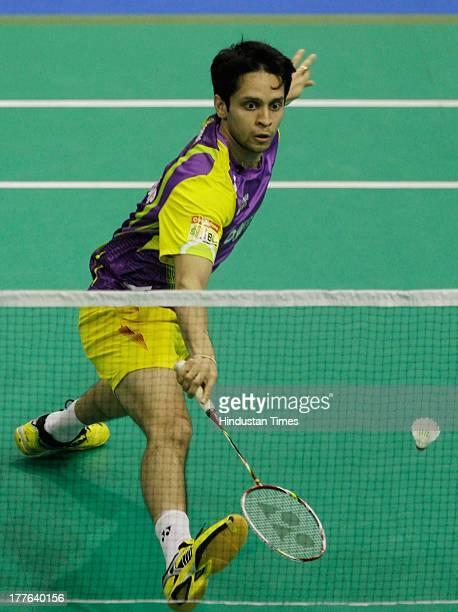 Banga Beats' player Parupalli Kashyap in action against Delhi Smashers' B Sai Praneeth in the Indian Badminton League match at Sree Kanteerava Indoor...
