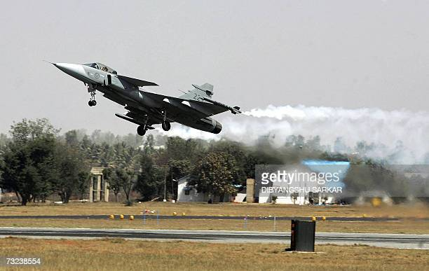 A Swedish made Gripen fighter plane takes off during the Aero India 2007 at the Yelahanka Air Force Station in Bangalore 06 February 2007India kicked...