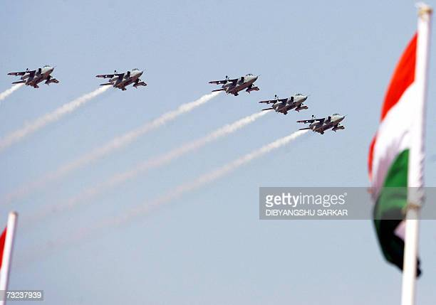 Indian Airforce Jaguar aircraft fly in formation during a display on the first day of Aero India 2007 at the Yelahanka Air Force Station in Bangalore...