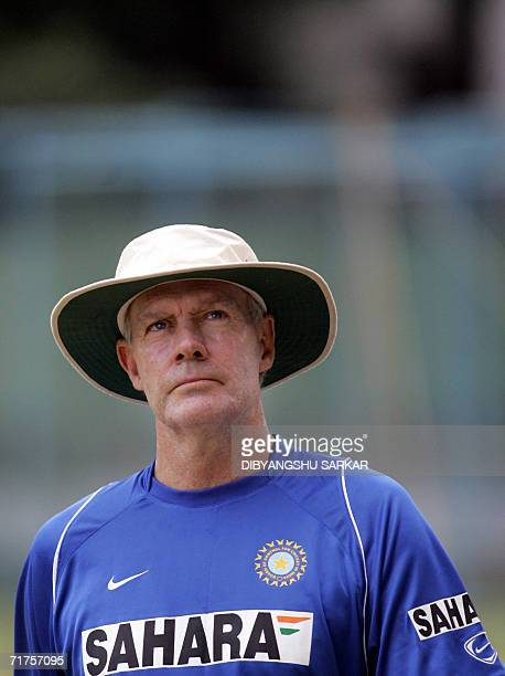 Indian cricket coach Greg Chappell watches proceedings during a practice session at The National Cricket Academy in Bangalore 31 August 2006 A nine...
