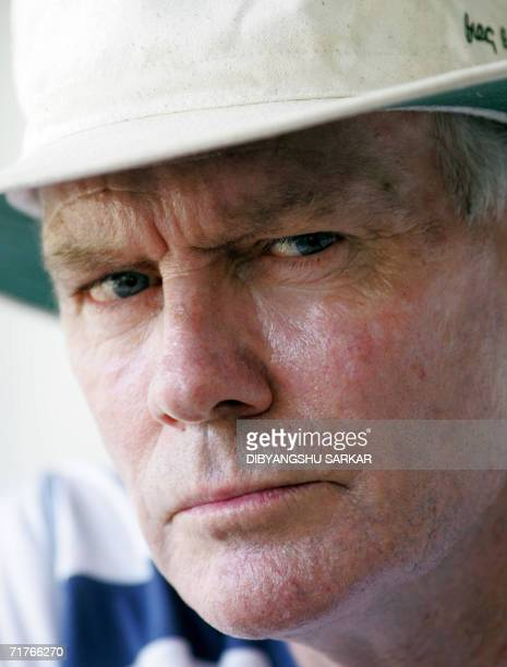 Indian cricket team coach Greg Chappell listens to a question at a press conference during a practice session at the National Cricket Academy in...