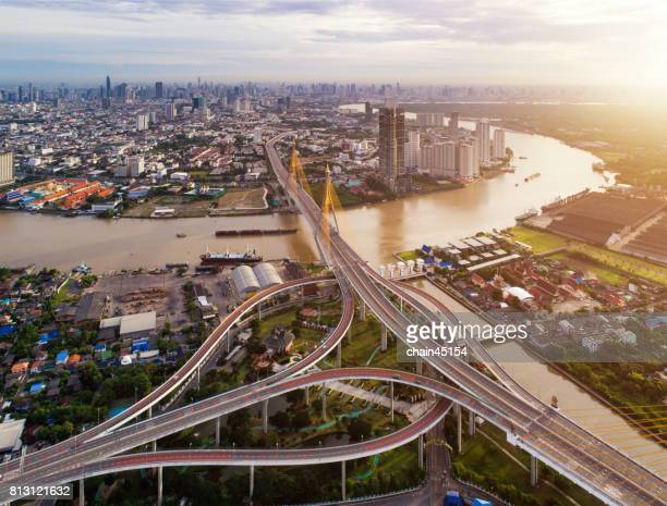 Bangkok Aerial view of Bhumibol Bridge in the center area of Bangkok, Bangkok city downtown with business area in Thailand.