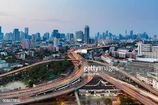 Bangkok city road interchanged with downtown background : Stockfoto