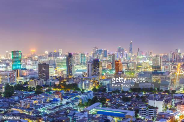Bangkok City skyline aerial view at night time and skyscrapers of midtown bangkok.
