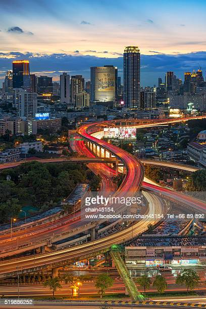 Bangkok city with S curve of transport road in Thailand, Asian