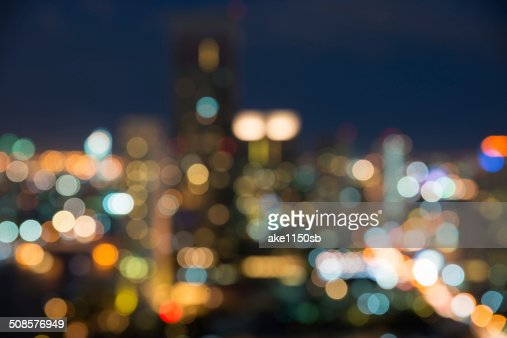 Bangkok cityscape at twilight time, Blurred Photo bokeh : Stock Photo