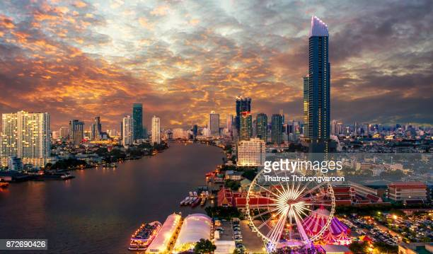 Bangkok cityscape. Bangkok night view in the business district. at twilight'n