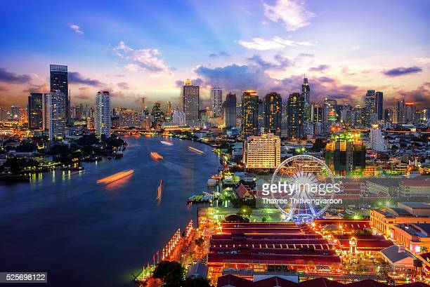 Bangkok cityscape. Bangkok night view in the business district