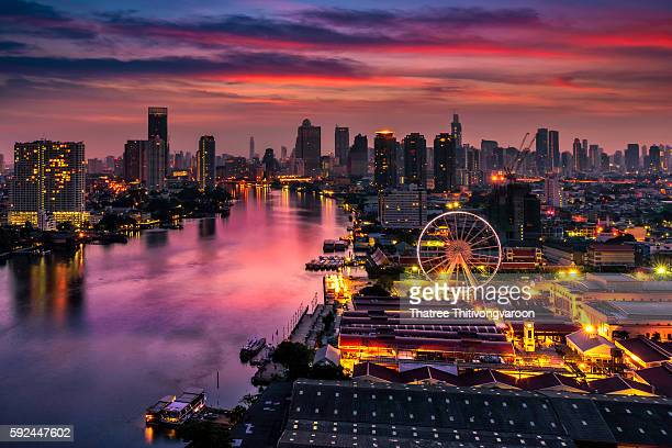 Bangkok cityscape. Bangkok night view in the business district. Thailand