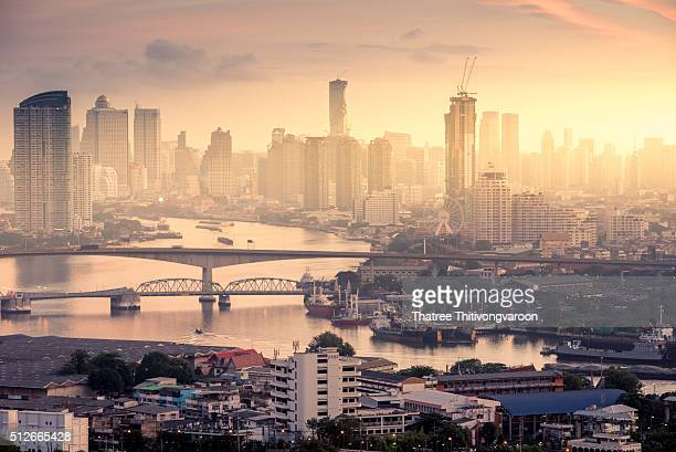 Bangkok cityscape. Bangkok sunrise view in the business district