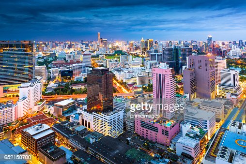 Bangkok Cityscape, Business district with high building at dusk (Bangkok, Thailand) : Photo