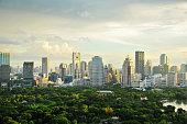 Bangkok Cityscape, Business district with main garden at sunshine day, Bangkok, Thailand