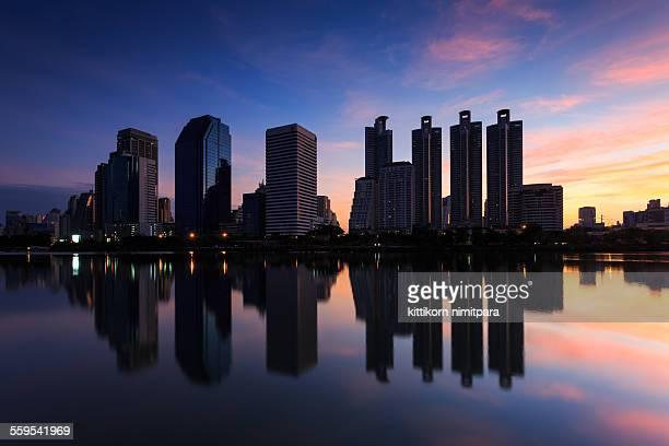Bangkok cityscape with reflection