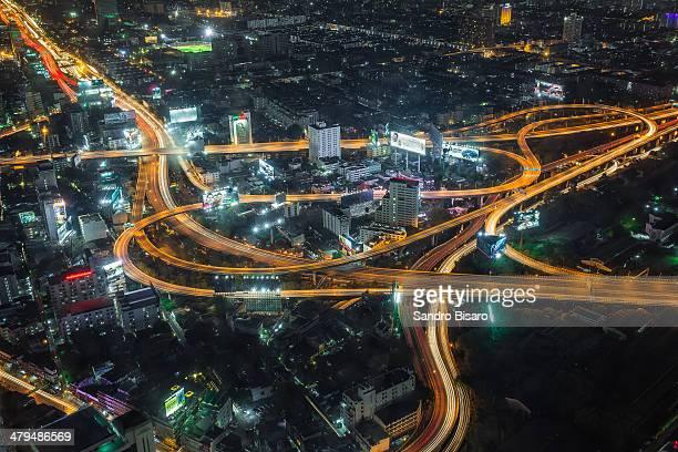 Bangkok Highways at night with traffic lights