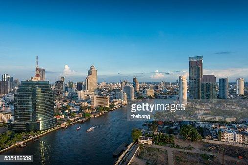 Bangkok skyline, view of Chaophaya River