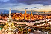 Bangkok, Thailand at the Temple of the Emerald Buddha and Grand Palace.