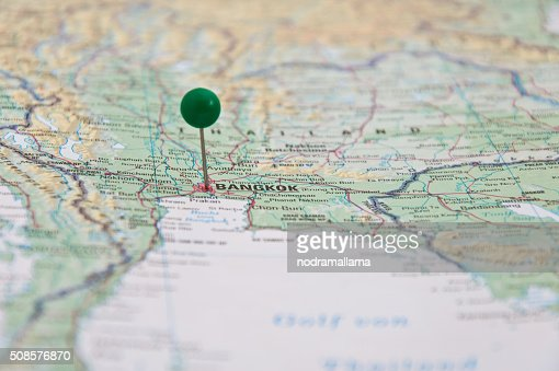 Bangkok, Thailand, Green Pin, Close-Up of Map. : Stock Photo