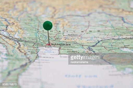 Bangkok, Thailand, Green Pin, Close-Up of Map. : Stockfoto