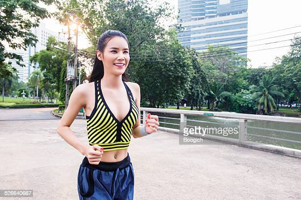 Bangkok Thailand Ladyboy Running in Lumpini Park
